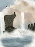 Cascade à écriture ligne par ligne d'imagination illustration libre de droits