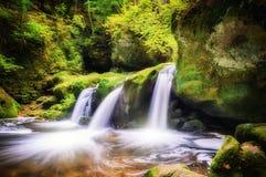 Cascade à écriture ligne par ligne dans la forêt d'automne Images libres de droits