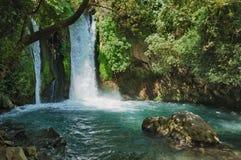 Cascade à écriture ligne par ligne dans la réserve naturelle de Banias Photos stock