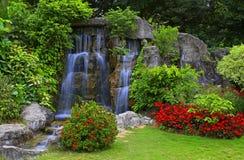 Cascade à écriture ligne par ligne dans le jardin tropical image libre de droits