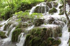 Cascade à écriture ligne par ligne dans Plitvice Photos stock