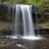 Cascade à écriture ligne par ligne de forêt, HDR Photo libre de droits