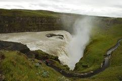 Cascade à écriture ligne par ligne de Gullfoss, Islande. Photos libres de droits