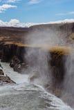 Cascade à écriture ligne par ligne de Gullfoss, Islande Images stock