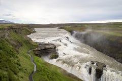 Cascade à écriture ligne par ligne de Gullfoss, Islande Images libres de droits