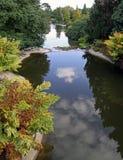 Cascade à écriture ligne par ligne de jardin au-dessus d'un jardin de rocaille Photographie stock libre de droits
