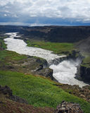 Cascade à écriture ligne par ligne de l'Islande Hafragilsfoss Images libres de droits