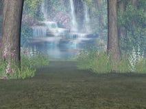 Cascade à écriture ligne par ligne de régfion boisée Photo libre de droits