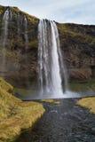 Cascade à écriture ligne par ligne de Seljalandsfoss Image stock
