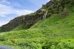 Cascade à écriture ligne par ligne de Seljalandsfoss en Islande Image stock