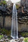 Cascade à écriture ligne par ligne de Svartifoss, Islande Images libres de droits