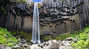 Cascade à écriture ligne par ligne de Svartifoss, Islande Image libre de droits