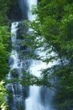 Cascade à écriture ligne par ligne en montagnes de cascades Photo stock