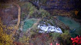 Cascade à écriture ligne par ligne et nature de paradis de lacs Plitvice Images stock