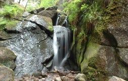 Cascade à écriture ligne par ligne et une pierre moss-grown Image libre de droits