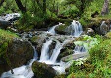 Cascade à écriture ligne par ligne, fleuve de montagne images libres de droits