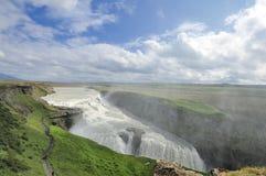 Cascade à écriture ligne par ligne Gullfoss, Islande Image stock