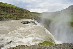 Cascade à écriture ligne par ligne Gullfoss, Islande Image libre de droits