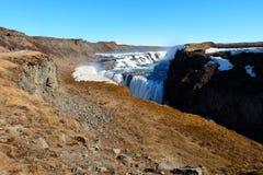 Cascade à écriture ligne par ligne Islande de Gullfoss Photographie stock