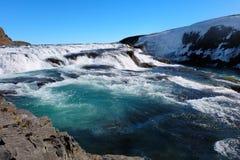 Cascade à écriture ligne par ligne Islande de Gullfoss Photos stock