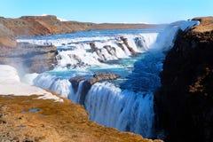 Cascade à écriture ligne par ligne Islande de Gullfoss Images libres de droits