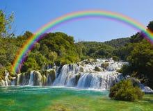 Cascade à écriture ligne par ligne Krka en Croatie Photos libres de droits