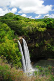 Cascade à écriture ligne par ligne panoramique en Hawaï Images stock