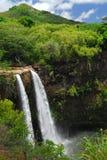 Cascade à écriture ligne par ligne panoramique en Hawaï Photographie stock libre de droits
