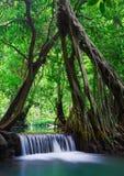 Cascade à écriture ligne par ligne profonde de forêt dans Krabi, Thaïlande Images stock