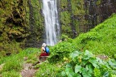 Cascade à écriture ligne par ligne sur Hawaï Image libre de droits