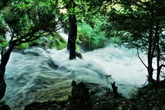 CASCADE. Stream in Plitvica National park Stock Photography
