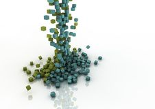 Cascade. Colourful cascade of falling pixels Stock Photography