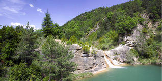 Cascade. In the river Arba (Aragon,Spain Royalty Free Stock Photography
