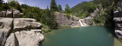 Cascade. In the river Arba (Aragon,Spain Royalty Free Stock Photos