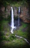 Cascade affectueuse d'amie d'Amante de la novia, chute jumelle en Equateur Images stock