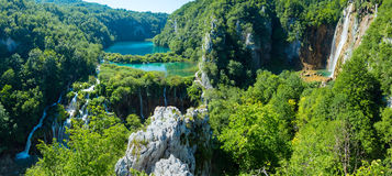 Plitvice Lakes National Park (Croatia) panorama. Cascade azure limpid lakes with waterfalls  in Plitvice Lakes National Park (Croatia Royalty Free Stock Photos