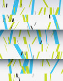 Cascade of cardboard sheets. Cascade of realistic cardboard sheets with mixed diagonal sticks. Colorful background illustration. Vertical template for a poster Royalty Free Stock Photo