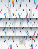 Cascade of cardboard sheets. Cascade of realistic cardboard sheets with mixed diagonal sticks. Colorful background illustration. Vertical template for a poster Stock Photo