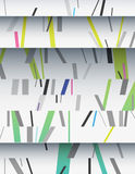 Cascade of cardboard sheets. Cascade of realistic cardboard sheets with mixed diagonal sticks. Colorful background illustration. Vertical template for a poster Stock Images