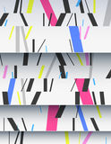 Cascade of cardboard sheets. Cascade of realistic cardboard sheets with mixed diagonal sticks. Colorful background illustration. Vertical template for a poster Royalty Free Stock Image