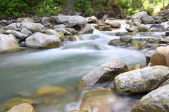 Cascade in Carpathian forest, Ukraine Stock Photography