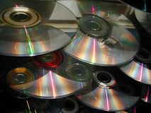 Cascade of CDs royalty free stock photography