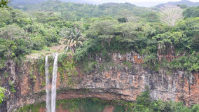 Cascade Chamarel in Mauritius. Waterfalls of Chamarel formed by the River St.Denis, the waterfalls of Chamarel (Cascade Chamarel) have a height of 83m (272ft) stock video