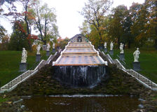 Cascade `The Chess Mountain` in Peterhof Stock Photo