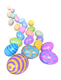 Cascade of Colorful Easter Eggs. A group of colorful Easter eggs come tumbling down toward the viewer - add a splash of sprintime color to your poster or Royalty Free Stock Images