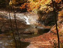 Cascade in the creek. Water running down a cascade in a creek with autumn backdrop stock photography