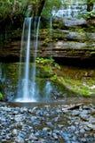 Cascade à écriture ligne par ligne dans la forêt profonde Photos stock