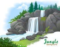 Cascade à écriture ligne par ligne dans une jungle Image stock