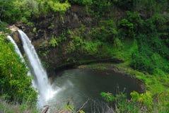 Cascade à écriture ligne par ligne panoramique en Hawaï Images libres de droits