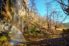Cascade d'arc-en-ciel dans la forêt d'hiver Images libres de droits